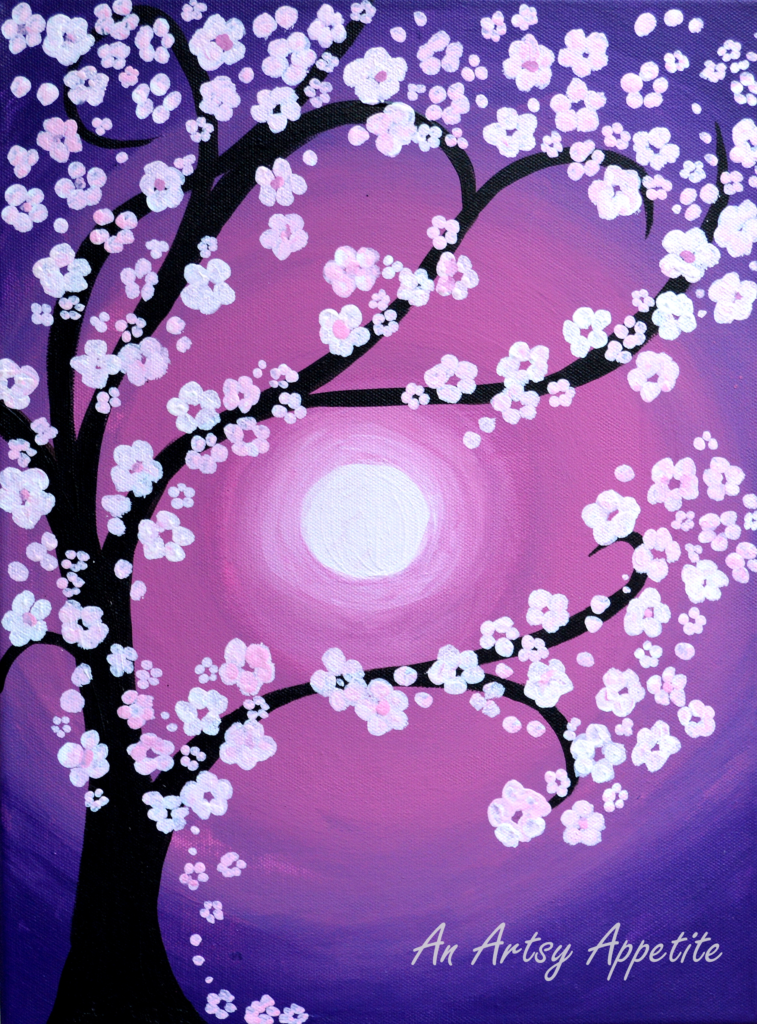 Monday magenta cherry blossoms acrylic painting on for Canvas painting of cherry blossoms