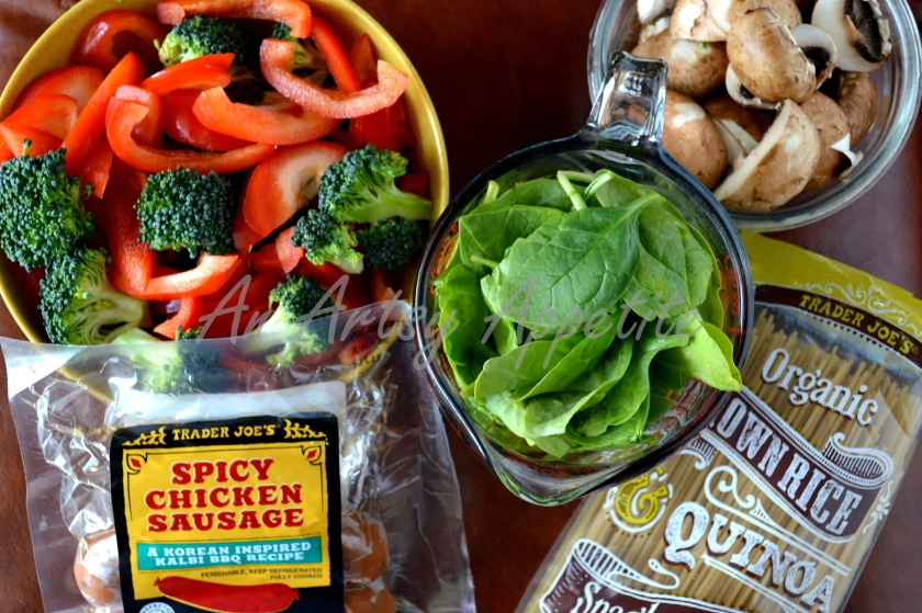 Ingredients: Brown rice spaghetti - 1 lb or less 1 bell pepper, 2 cups spinach 1 cup broccoli florets 2 Trader Joe's Chicken sausages cut in small pieces (you can use your favorite) 1-2 tbsp olive oil, salt and pepper (according to taste) 2 tsp dried parsley some fresh basil leaves (optional)