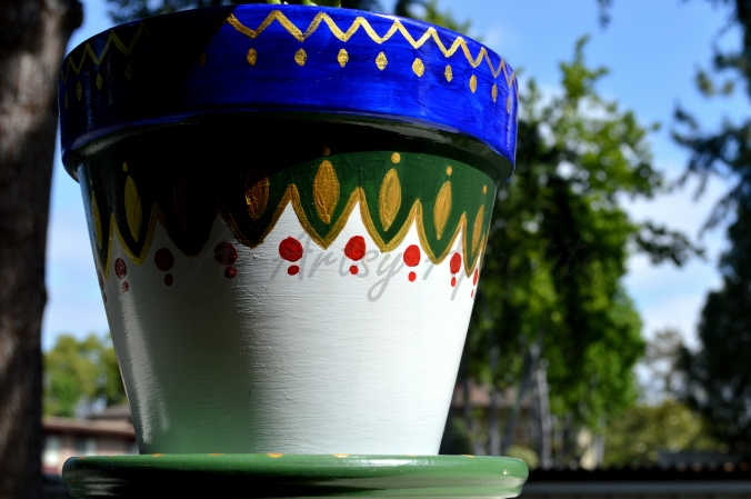 My first painted plant pot