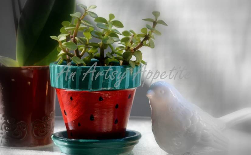 Watermelon Painted Planter