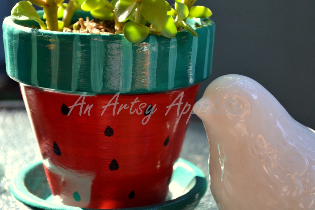 Watermelon Painted Planter