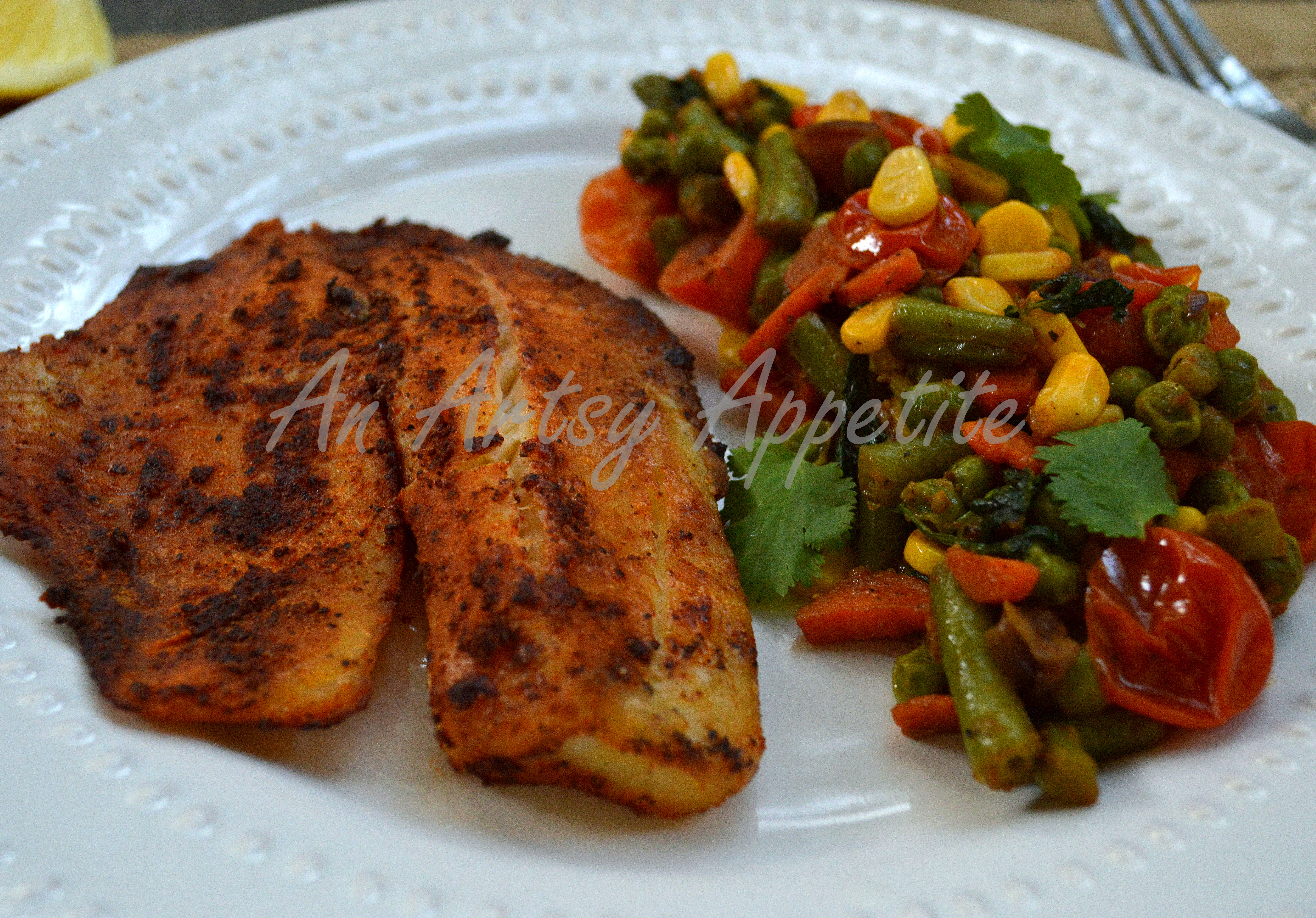 Grilled Fish with Easy Vegetable Medley Recipe & Baked Fish and Vegetable Medley ~ an easy dinner plate | An Artsy ...