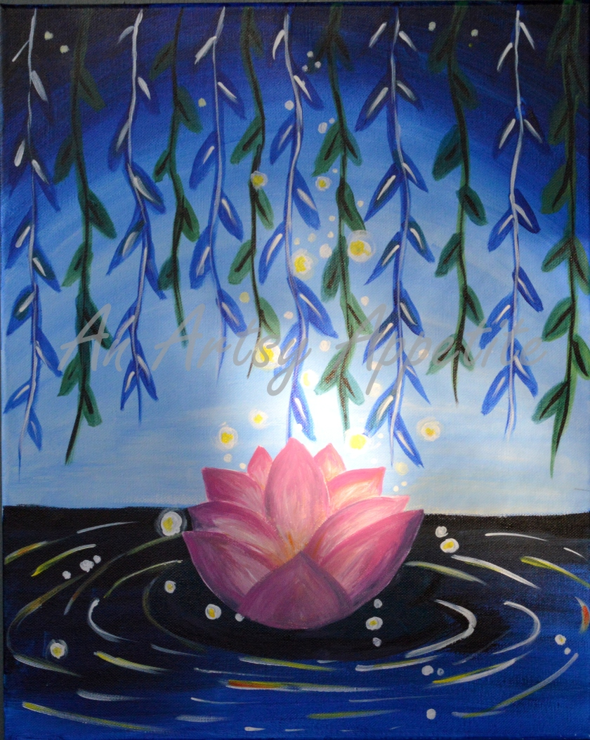 Lotus at Night ~ Acrylic on Canvas Painting