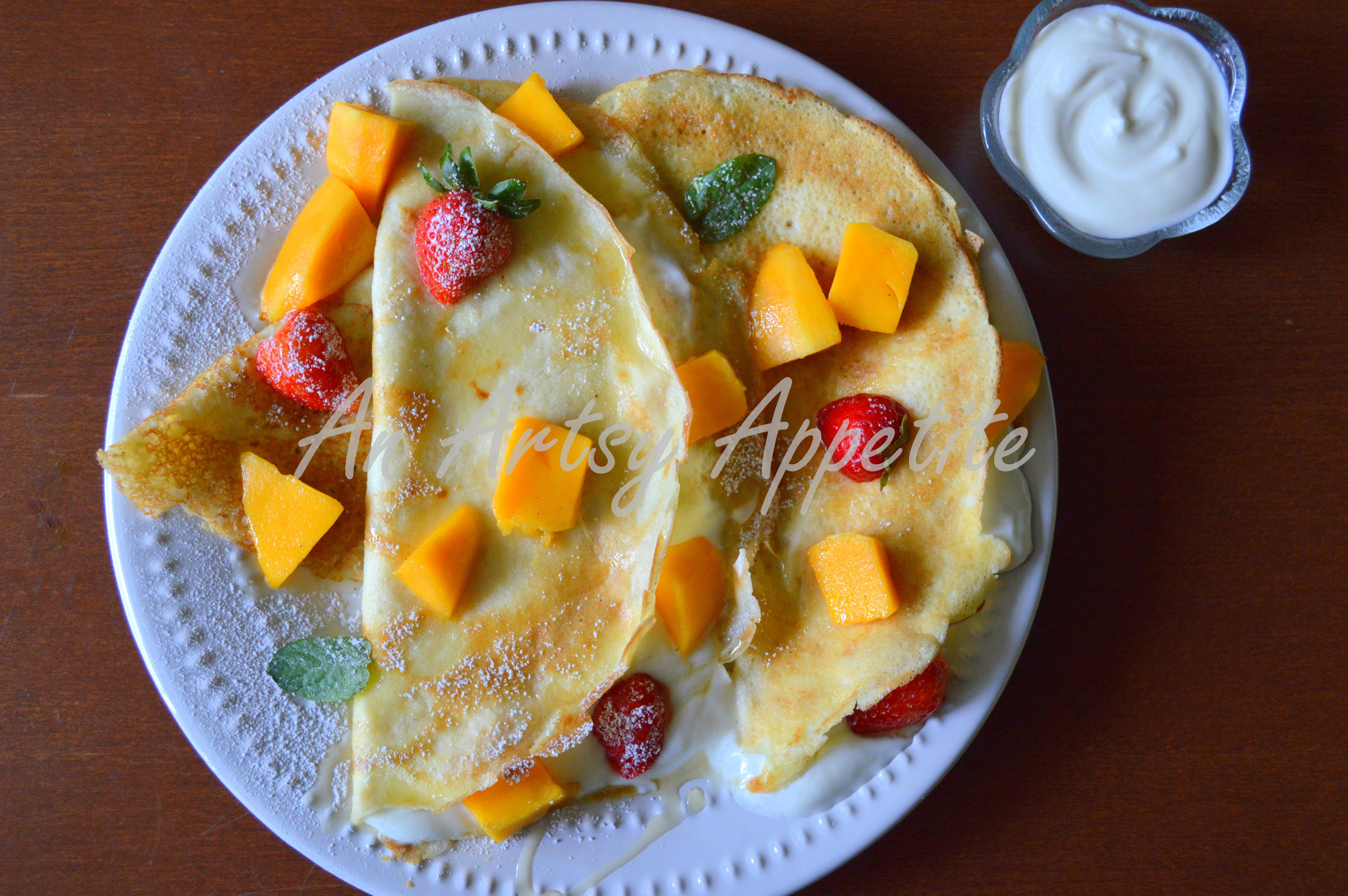 Coconut Milk Crêpes with Greek Yogurt, Fresh Fruits and Honey   An ...