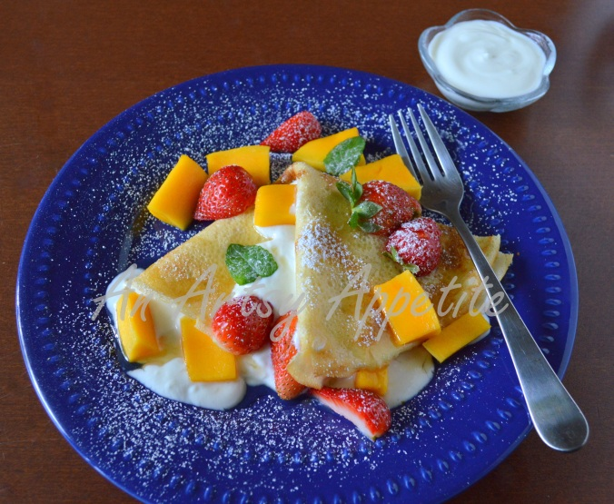 Coconut Crepes with Mango, Strawberry and Honey Recipe