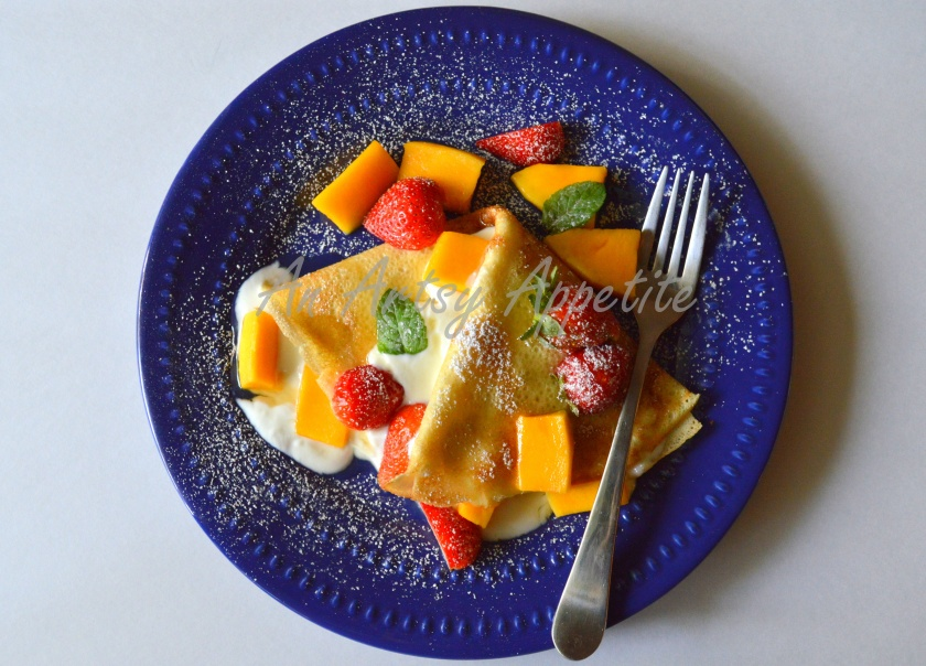 Coconut milk crepes with greek yogurt, fresh fruits and honey recipe