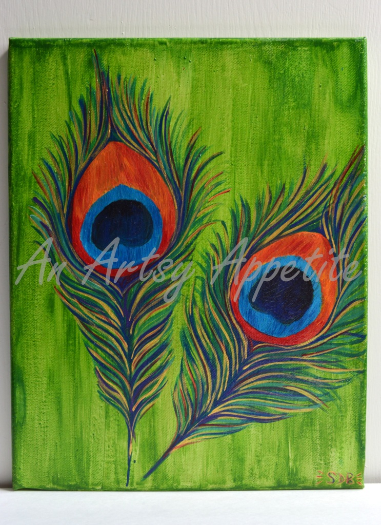 Peacock Feathers Original Acrylic Canvas Painting