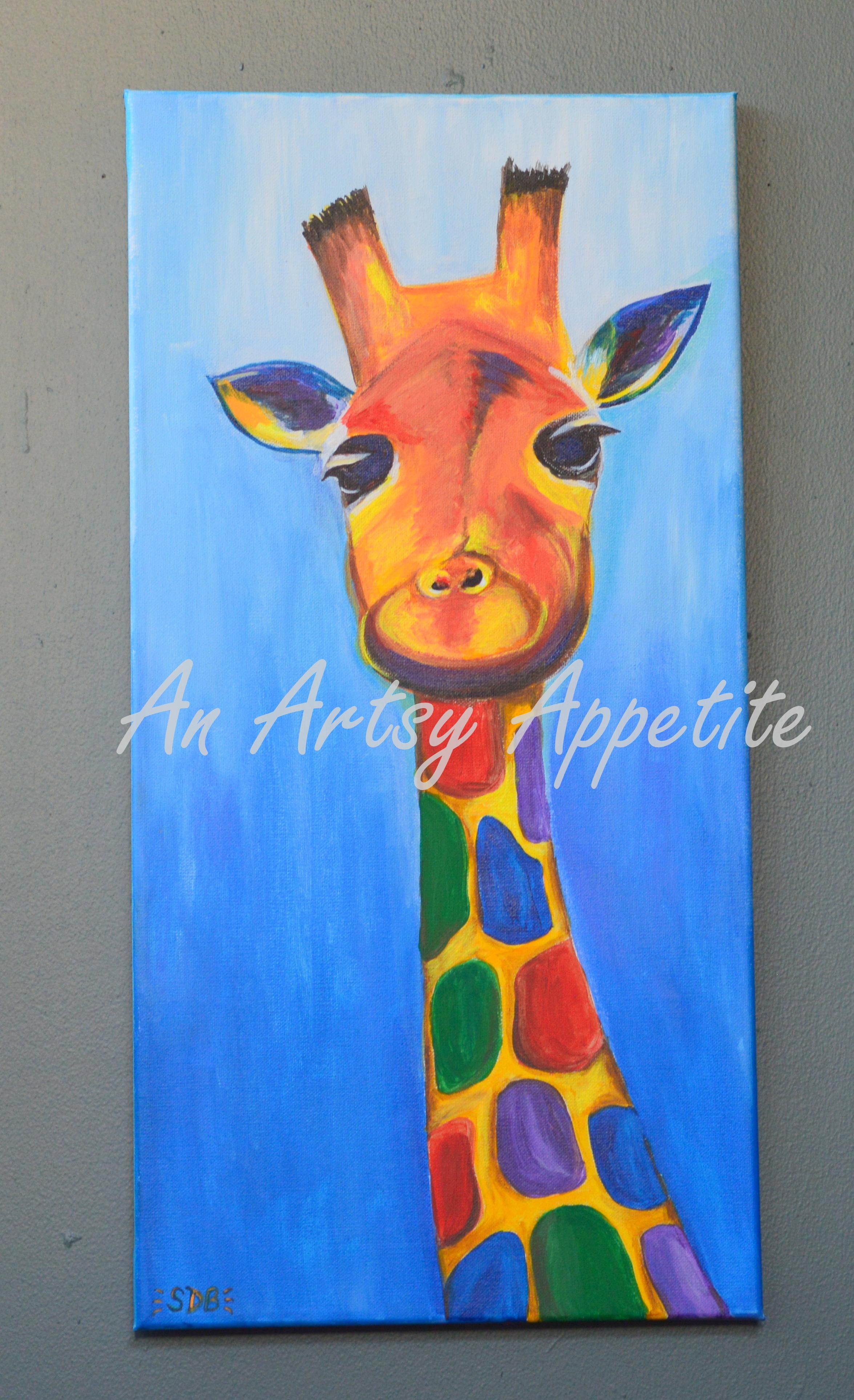 Colorful Baby Giraffe Acrylic Canvas Painting An Artsy