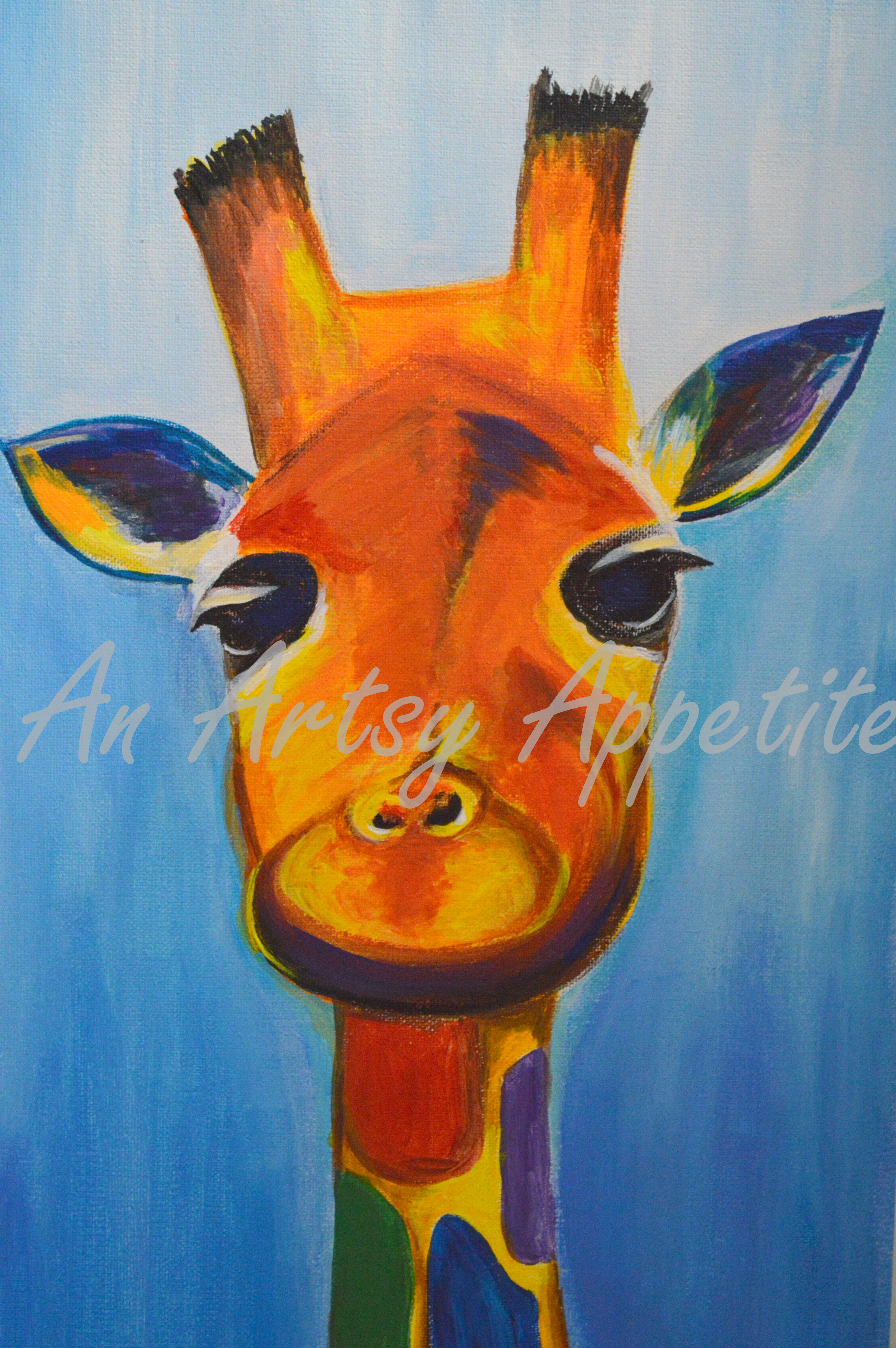 Colorful Baby Giraffe Acrylic Canvas Painting – An Artsy Appetite