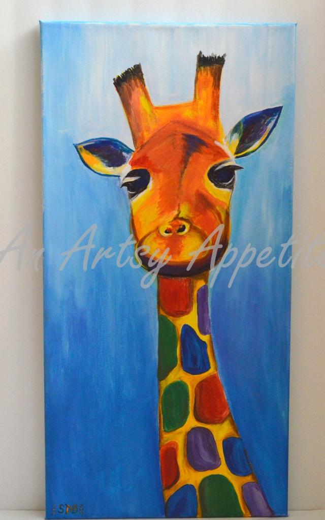 Colorful Baby Giraffe Canvas Acrylic Painting ~ Childrens' room/ Baby Nursery decor