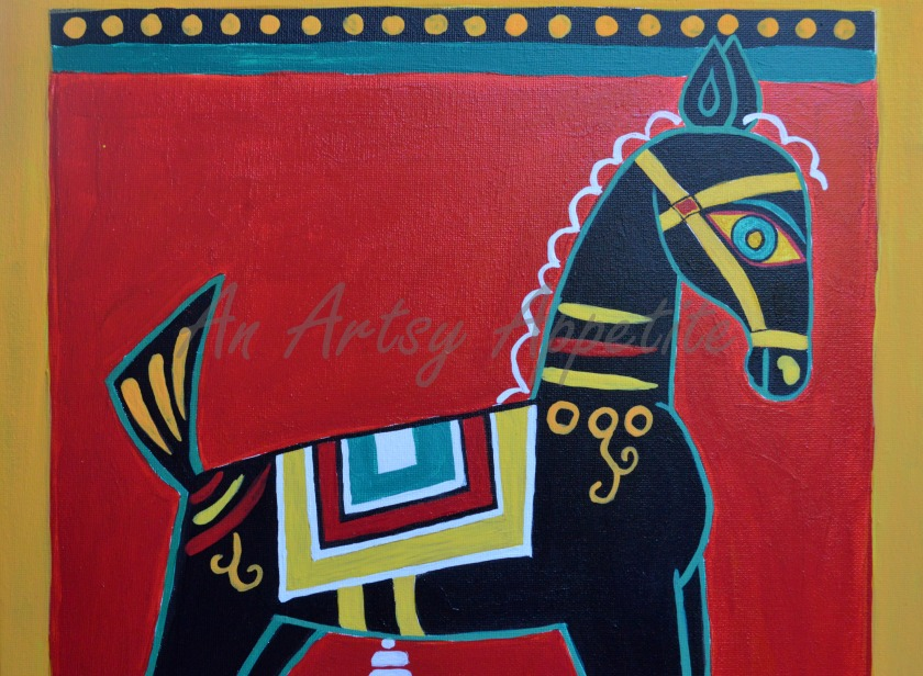 Black Horse by Jamini Ray ~ recreated canvas painting