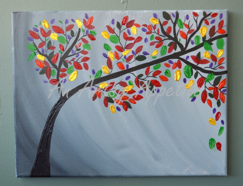 Lovebirds in Colorful Tree Acrylic Canvas Painting