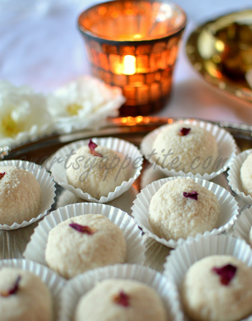 Rose Sondesh, Sandesh, Rose Mithai for Diwali festival recipe