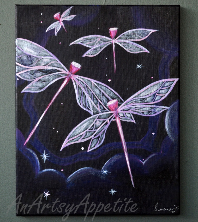Etsy painting acrylic by An Artsy Appetite, Dragonflies in the Night Sky