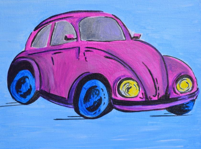 Home decor gift idea wall art Volkswagen Beetle painting canvas acrylic art