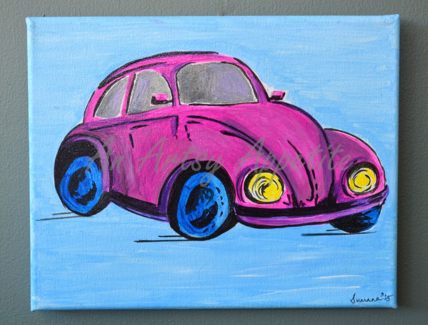 Pink Vintage Volkswagen Beetle Acrylic painting on canvas