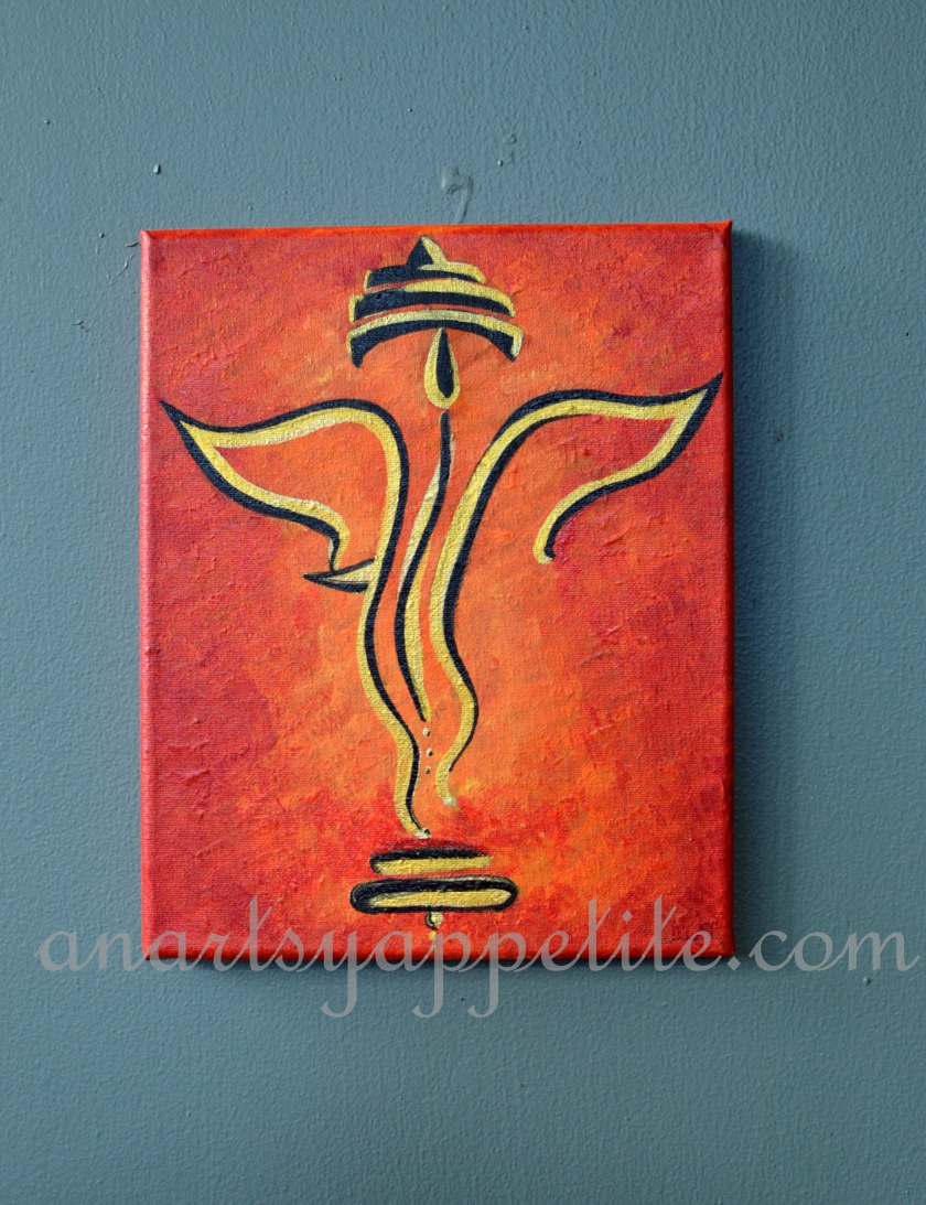 how to paint a ganesha on canvas with acrylic paints