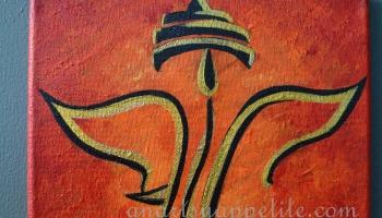 Ganesha Acrylic Painting On Canvas Textured Metallic Art
