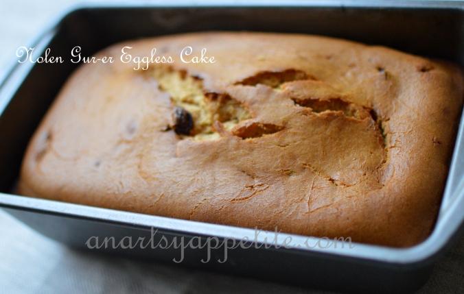 Nolen Gur-er Eggless Cake Recipe,, Nolen Gur Cake Original Recipe, jhola gur, liquid nolen gur
