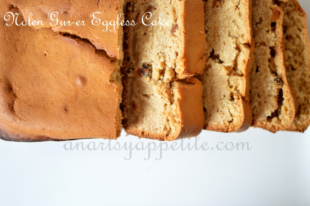 Nolen Gur-er Eggless Cake Recipe,, Nolen Gur Cake Original Recipe