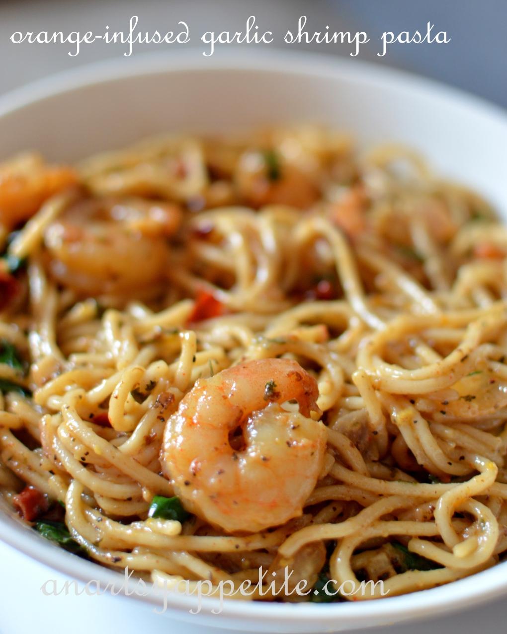 Easy gluten free orange-infused garlic lemon shrimp pasta recipe, simple pasta dinner recipe, no-cheese lemon garlic shrimp pasta recipe