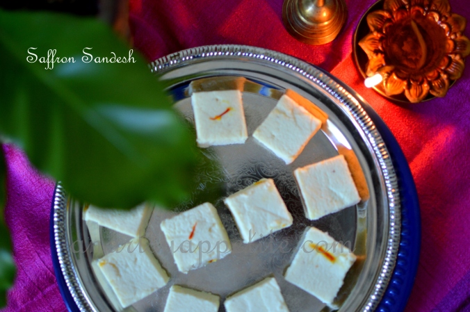 Saffron Sandesh Recipe, Bengali Saffron Shondesh Recipe, How to make Saffron Shondesh, Bengali sweet cheese fudge recipe, Indian dessert recipe